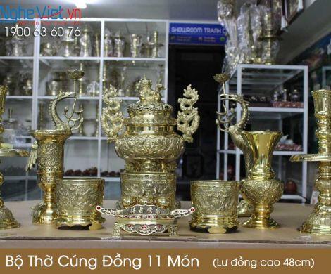 Bộ thờ cúng đồng 11 món ( Lư đồng cao 45cm ) 3 bát hương + Ống hương