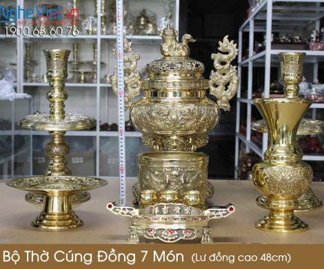 Bộ thờ cúng đồng 7 món ( Lư đồng cao 45cm )