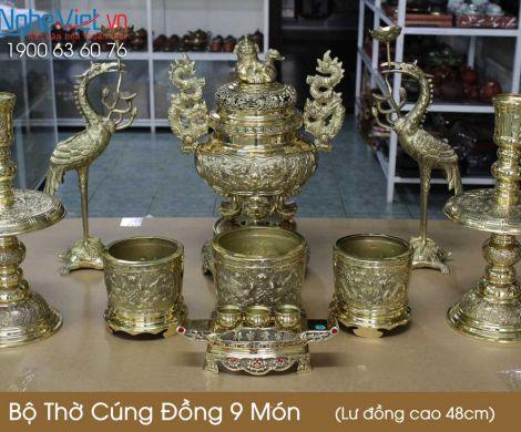 Bộ thờ cúng đồng 9 món ( Lư đồng cao 45cm ) 3 Bát hương + Cặp hạc