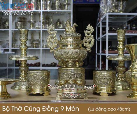 Bộ thờ cúng đồng 9 món ( Lư đồng cao 45cm ) 3 Bát hương