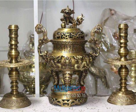 Bộ Tam Sự Cao Cấp Đồng Vàng Đậm Trạm Rồng đẹp MNV-DD18/50
