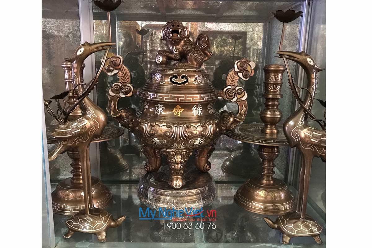 Bộ đồ thờ ngũ sự khảm ngũ sắc MNV-DD02