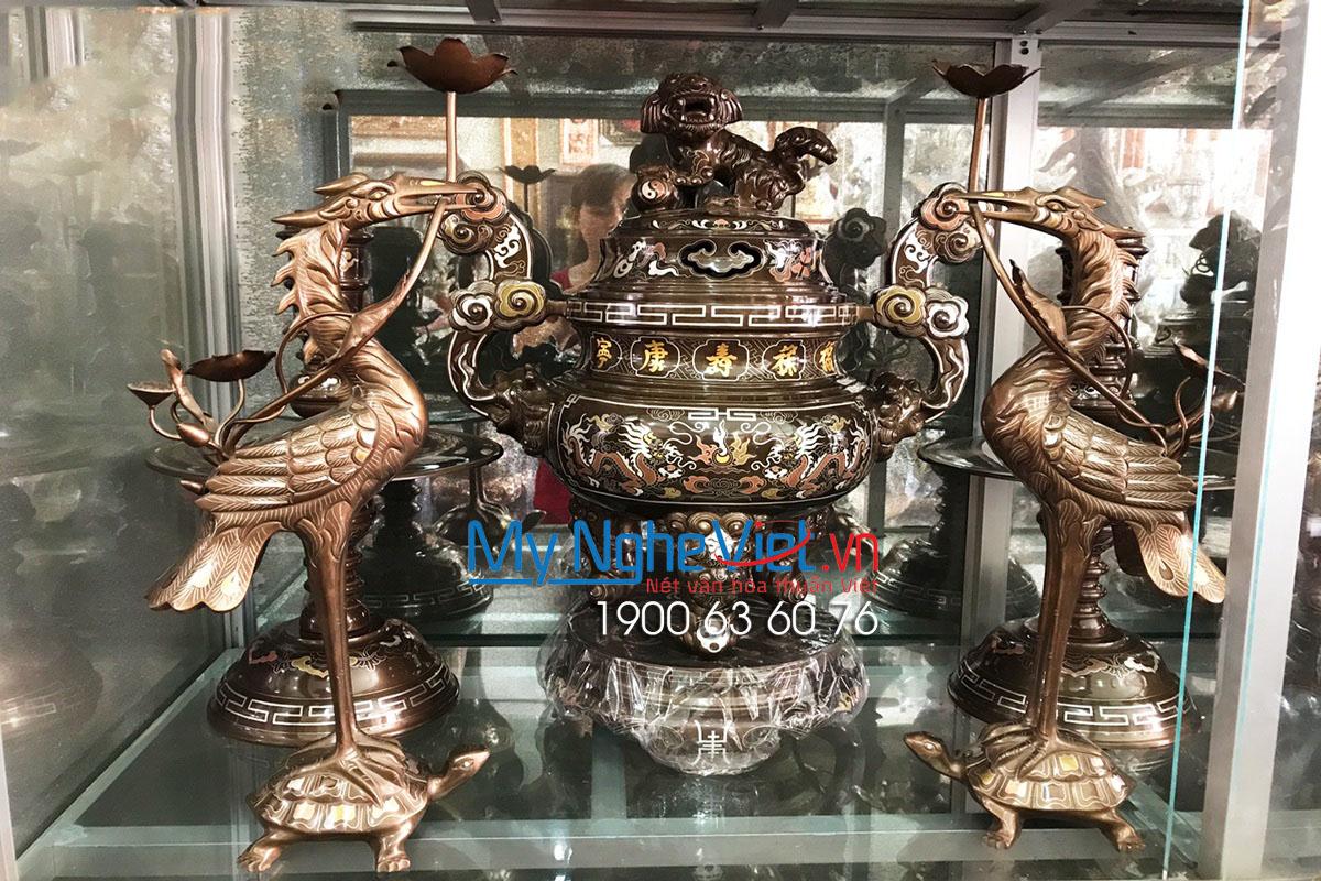Bộ Đồ Thờ Cúng Tam sự đỉnh khảm ngũ sắc 5 chữ vàng MNV-DD05