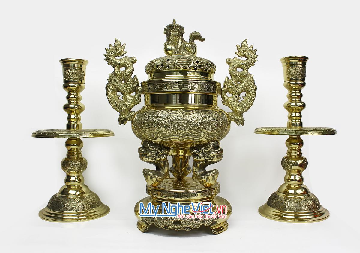 Bộ Lư đồng rồng (Đỉnh đồng) và chân nến tứ linh đồng - Bộ thờ cúng MNV-DD19