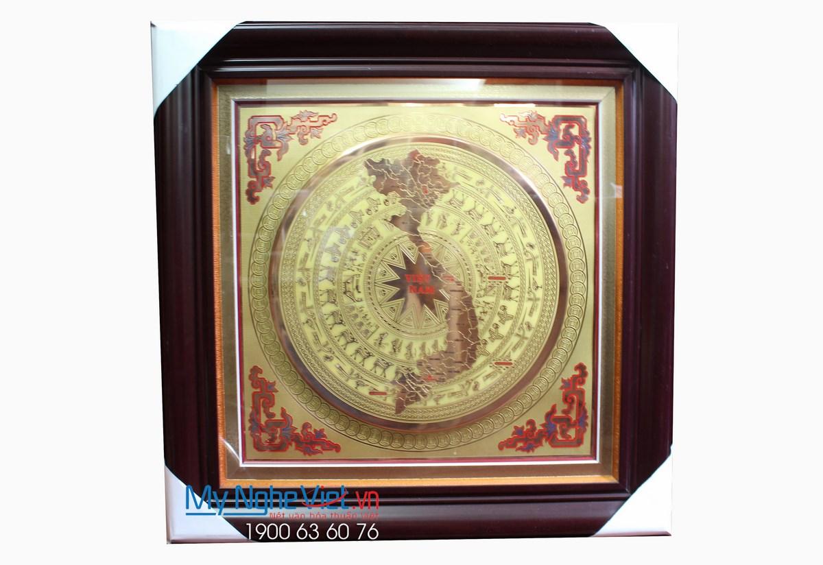 Tranh Đồng Họa Tiết Trống Đồng Vẽ Ăn Mòn 82x82 (có khung) - MNV-DD08/1