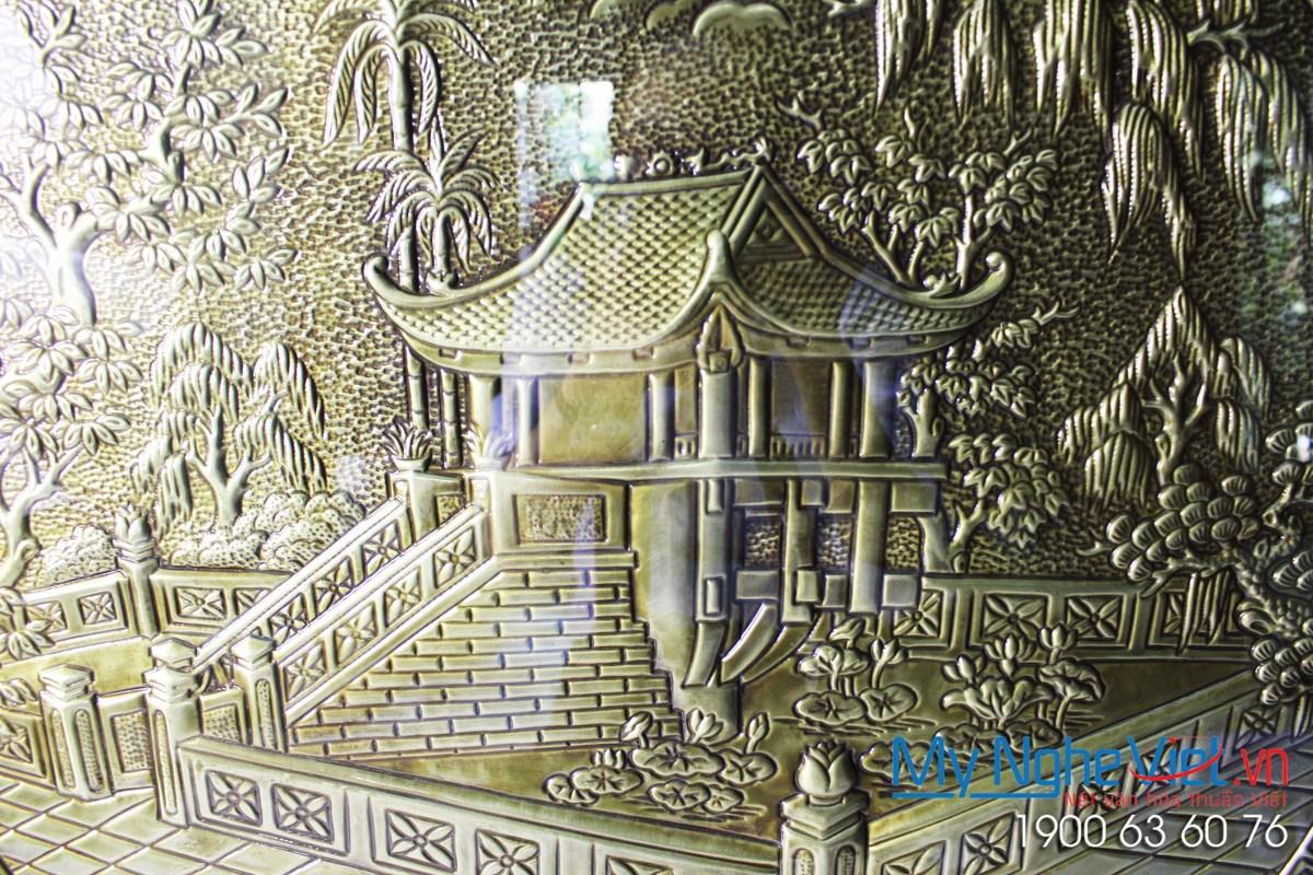 Tranh đồng vẽ Chuà Một Cột MNV-DD45-1