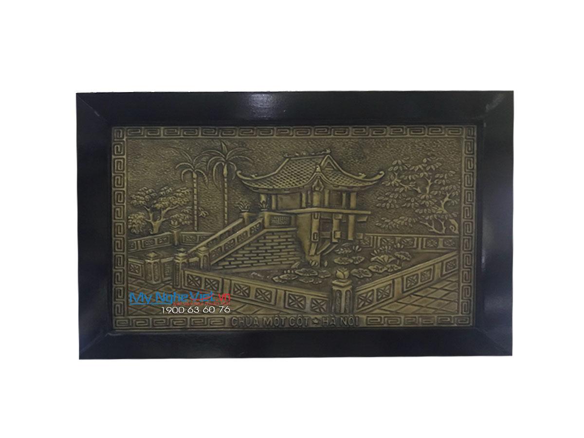 Tranh Chùa một cột bằng đồng 30x40(cm) MNV-DD41/1