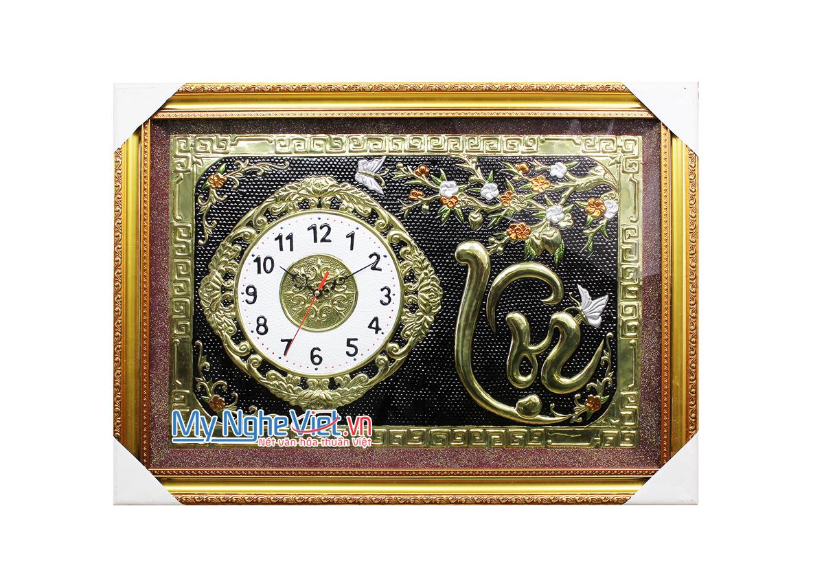 Tranh đồng chữ Thư pháp - Đồng hồ MNV-DD12