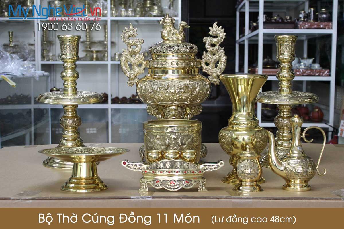 Bộ thờ cúng đồng 11 món ( Lư đồng cao 48cm ) Ấm trà + hũ nước