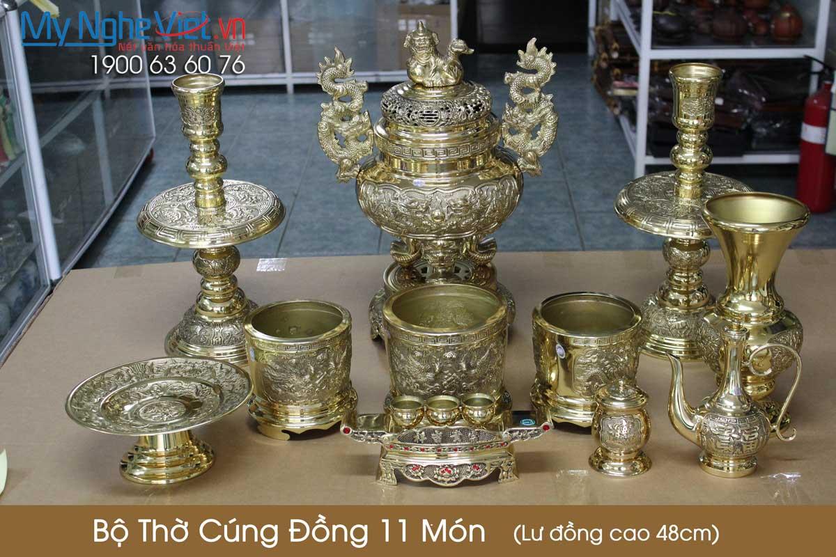 Bộ thờ cúng đồng 11 món ( Lư đồng cao 45cm ) Có 3 Bát hương