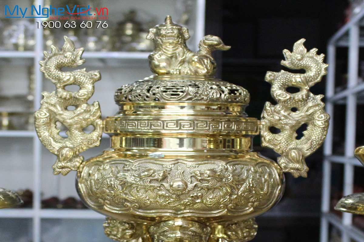 Bộ thờ cúng đồng 6 món ( Lư đồng cao 45cm )