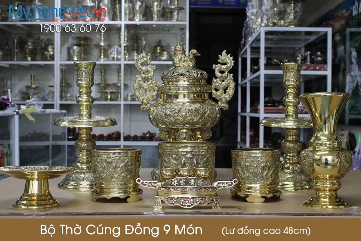 Bộ thờ cúng đồng 9 món ( Lư đồng cao 48cm ) 3 Bát hương