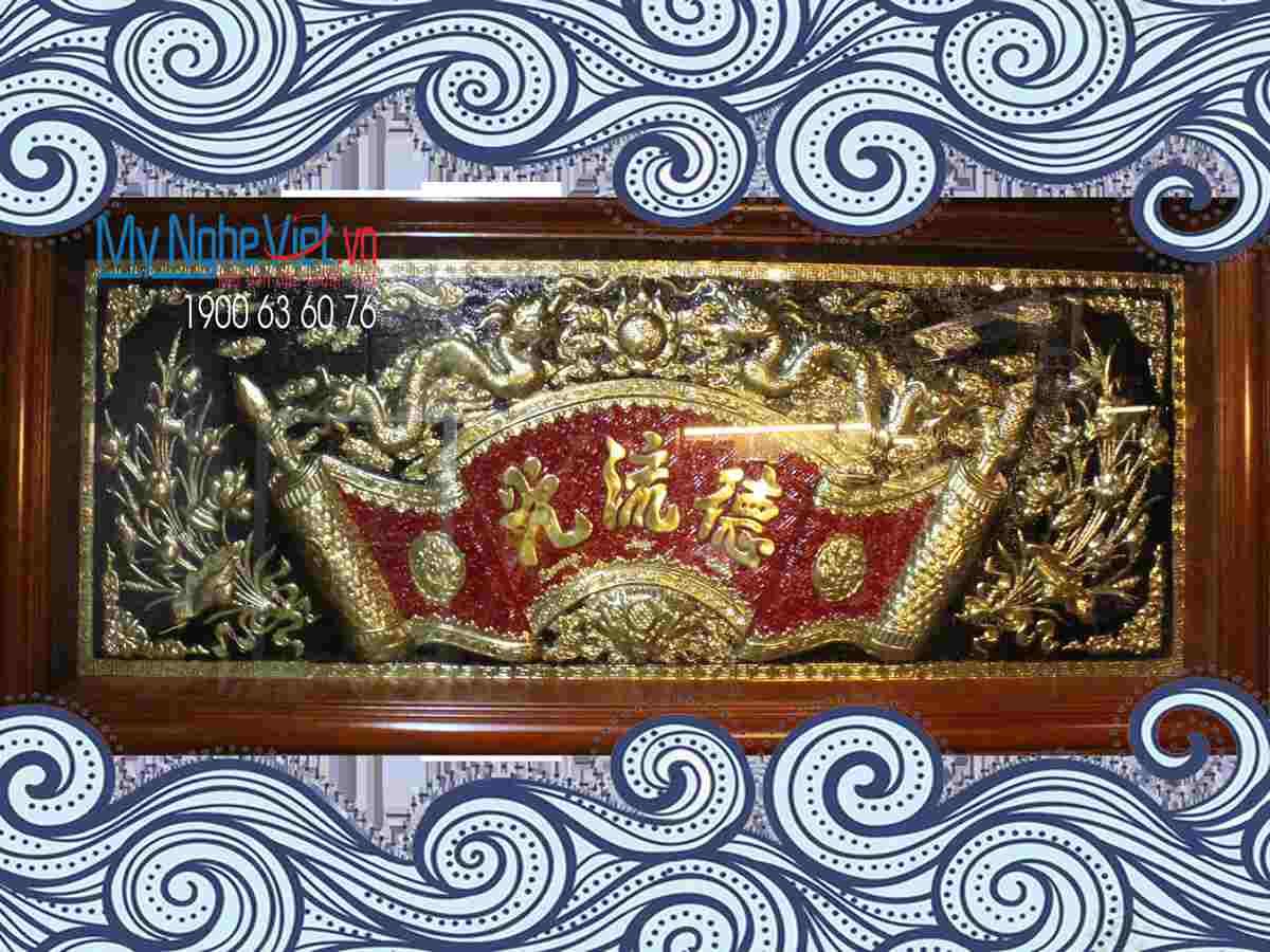 Đại tư câu đối khung gỗ liễn màu đỏ MNV-DD49/30