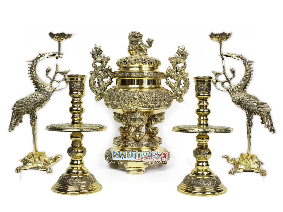 Bộ Lư (Đỉnh) Đồng Ngũ Sự và Đôi Chân Nến + Đôi Hạc Đồng Nhỏ - Bộ thờ cúng MNV-DD21