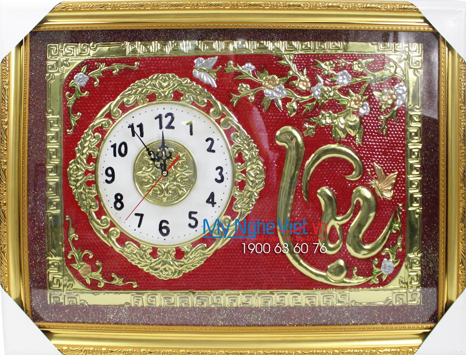 Tranh đồng chữ Thư pháp - Đồng hồ chữ Lộc nền đỏ MNV-DD012