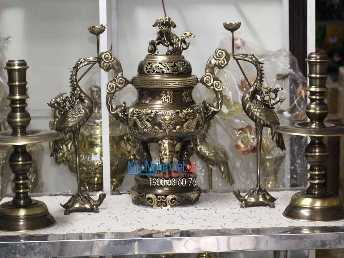 Bộ Đồ Thờ cúng Ngũ sự Đồng Vàng Cao Cấp Mới MNV-DD18/55