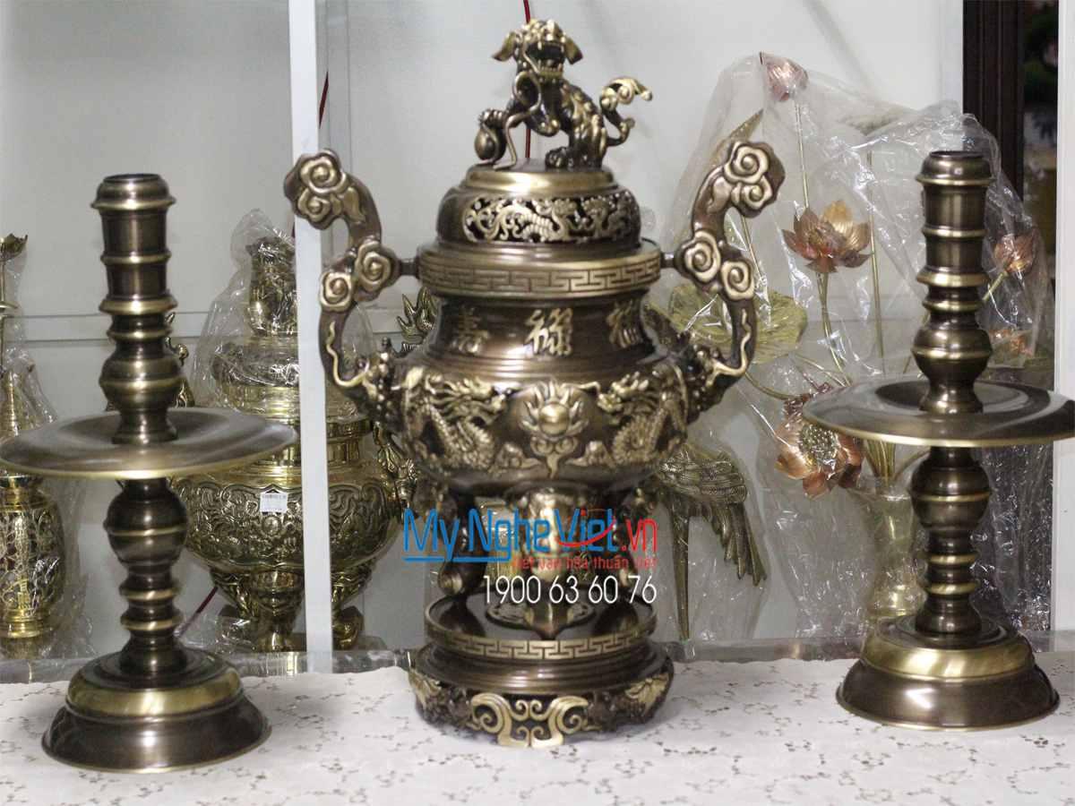 Bộ Đồ Thờ cúng Tam sự Đồng Vàng Cao Cấp Mới MNV-DD18/55